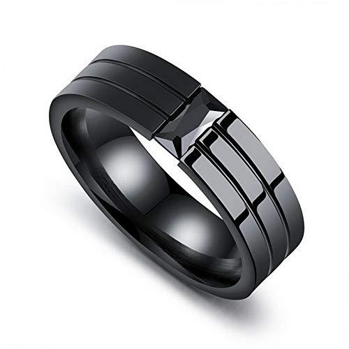 6mm Princess Cut Mount - Waldenn 6MM Titanium Steel Black Princess Cut Cz Band Mens Stylish Wedding Ring Sz 7-11 | Model RNG - 26340 | 9