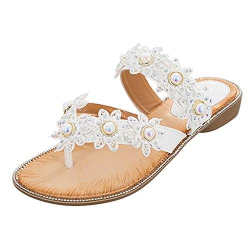 Women Flat Beach Slippers,❤️ FAPIZI Girls Flower Crystal Clip Toe Rome Sandals Summer Casual Boho Beach Shoes Flip Flops White