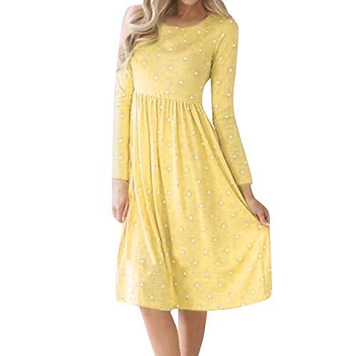 Women Casual Dot Printing Round Neck Dress Long Sleeve Evening Party Dress ANJUNIE(Yellow,S)
