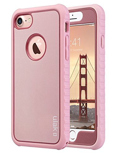 ULAK iPhone 8 & 7 Case Shock-absorbing Flexible Durability TPU Bumper Case, Durable Anti-Slip, Front and Back Hard PC Defensive Protection Cover for Apple iPhone 7 4.7 inch Rose Gold