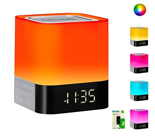 Portable Bluetooth Speaker + Music Reactive Multi-Color Touch Sensor Night Light Lamp, with LED Display, Alarm Clock…