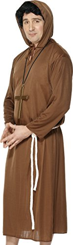 Brown Monk Robe - Smiffy's Men's Monk Costume, Hooded Robe and Belt, Saints and Sinners, Serious Fun, Size L, 20424