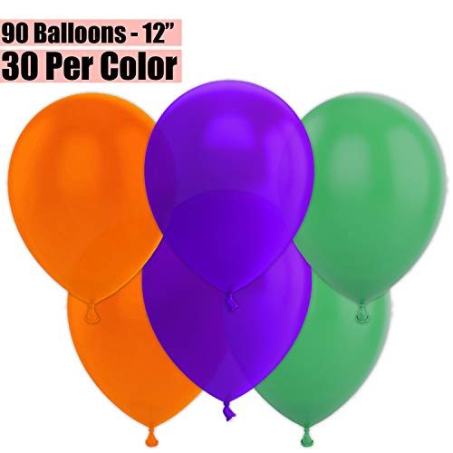 12 Inch Party Balloons, 90 Count - Orange + Deep Purple + Jade Green - 30 Per Color. Helium Quality Bulk Latex Balloons In 3 Assorted Colors - For Birthdays, Holidays, Celebrations, and More!!