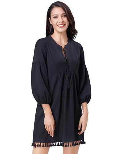 Peasant Tie - Womens Tassel Neck Tie Loose Fit Pullover Peasant Dress XL KK784-1