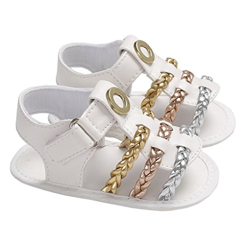 - lakiolins Baby Girls Metallic Braided Glitter Strappy Gladiator Flat Sandals Beach Shoes White Size M