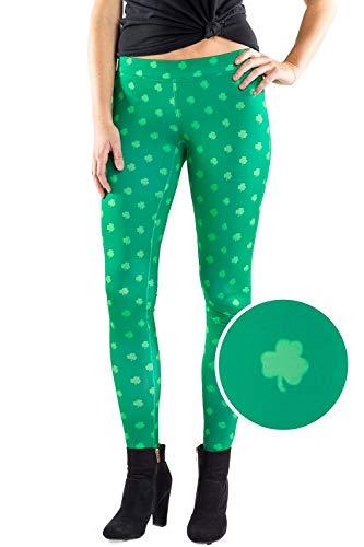 (Women's Green Clover Leggings - St. Patrick's Day Leggings)