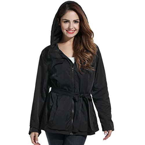 Belted Jacket (Hount Women Casual Waterproof Hooded Zip Up Belted Solid Jacket (L, Black))