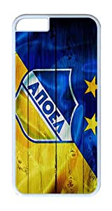 iPhone 6 Case, iPhone 6 Cover - Blue Yellow Wood Apoel Logo Scratch Protection Snap-on White Plastic Back Cover Case for iPhone 6 4.7 inch