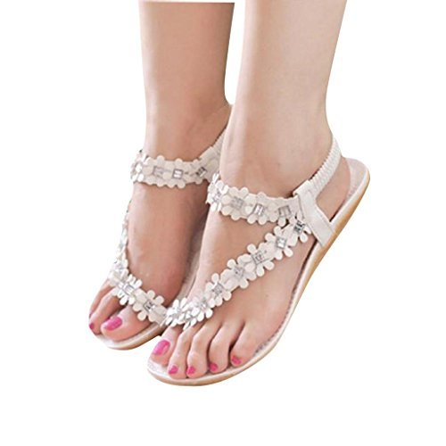 Tenworld Women Summer Bohemia Flat Sandals Flower Beads Beach Flip-flop Shoes (8, White)