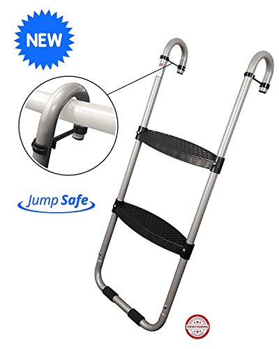 (Wide 2-Step Trampoline Ladder | Safety-Latch | No Slip | Cooler Surface | [Lifetime Parts Warranty])