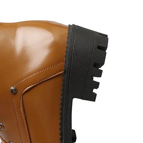 BalaMasa Womens Platform Slip-Resistant Retro Vinyl Boots ABL09971 Yellow yjaNqUx