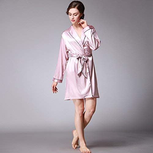 5564836bd4 Casual Sleepwear Spring and Autumn Pajamas Women s Long-Sleeved Home  Service Simulation Silk Long-Sleeved Silk Robe Robe (Color   Lotus