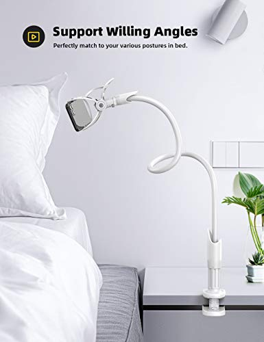 Gooseneck Phone Holder, Lamicall Flexible Holder for Bed - Lazy Arm 360 Adjustable Clamp Bracket Stand for iPhone 12 Mini, 12 Pro Max, 11 Pro Xs Max XR X 8 7 6 Plus, Samsung S10 S9, Smartphones -White