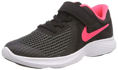 (NIKE Girls' Revolution 4 (PSV) Running Shoe, Black/Racer Pink-White, 13.5C Regular US Little Kid)