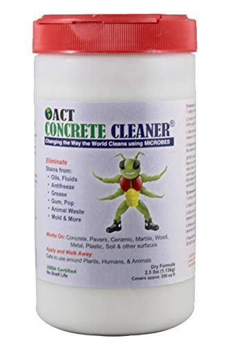 ACT Concrete Cleaner Eco Friendly Removes Oil Grease Mildew Stains Microbial Perfect for Driveway Garage or Warehouse 25lbs Covers 250sqft