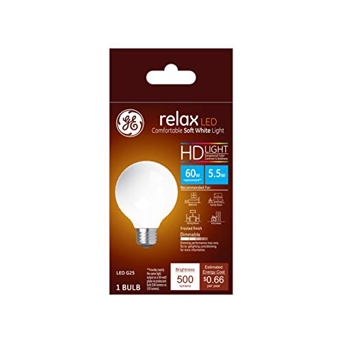 GE Lighting 36862 Finish Light Bulb Relax HD Dimmable LED G25 Decorative Globe 5.5 (60-Watt Replacement), 500-Lumen Medium Base, 1-Pack, Frosted White
