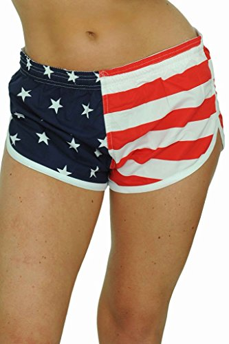 Flag Running Shorts - UZZI USA Flag Women's Basic Running Shorts Swimwear Trunks USA (Small)