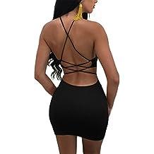 MISFONDLE Women's Sexy Bodycon Backless Spaghetti Lace up Mini Club Dress