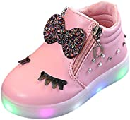 Toddler Baby Girls Kids LED Shoes for 1-6 Years Old Zip Crystal Bowknot Luminous Sneakers Casual Sport Walking