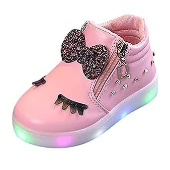 Zapatos Bebe niña LANSKIRT Zapatillas de Deporte Arco Zapatos de Flash LED pestaña Calzado de Zapato