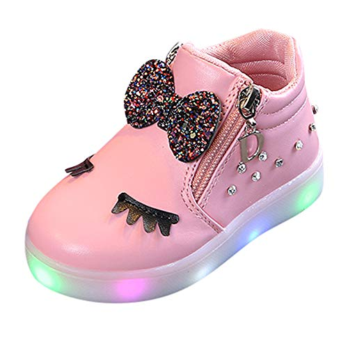 〓COOlCCI〓Kids Roller Skate Shoes with Single Wheel Shoes Sport Sneaker LED Crystal Bowknot Surface Roller Shoes Pink