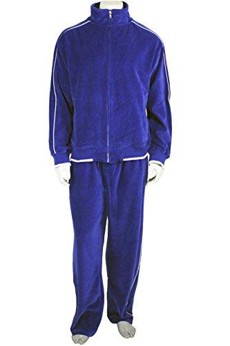 Electric Blue Mens Velour Sweatsuit, Large, Royal - Warm Big Up Pant Game