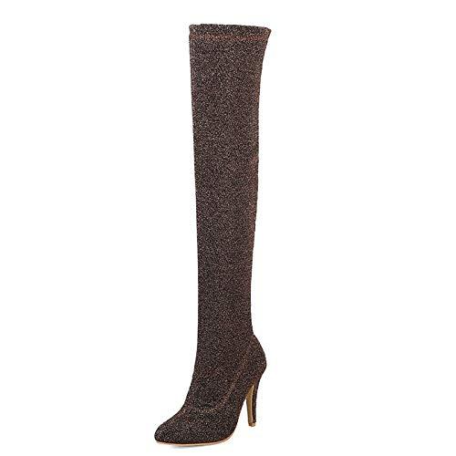 Élastiques Hauts Femmes Pointu Chaussures Sur Taille Bout Au Parti Talons Femme 32 Bottes Les Super Plus 48 Haoliequan Or Genou La zqgwg7