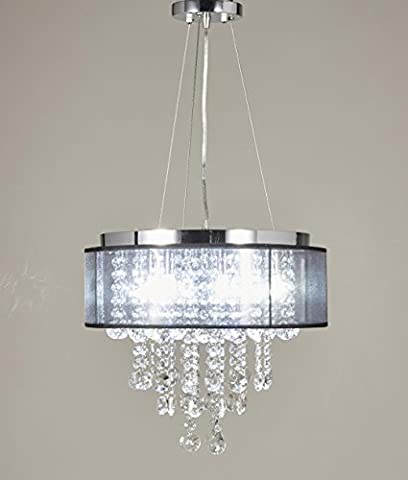Diamond Life Chrome Finish Translucent Black Shade 9-light Crystal Chandelier Pendant Hanging Ceiling - Sixteen Lamp Chandelier