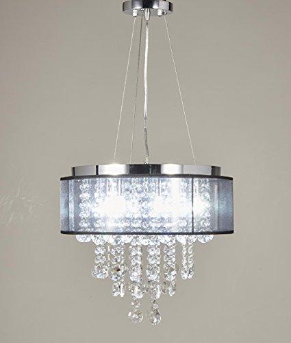 Black Crystal Pendant Nine Light Chandelier - 3