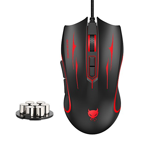 Redimp Wired Optical Gaming Mouse with Ergonomic Design, RGB Backlit 7-Button Programmable 4000 DPI Gaming Mouse for Mac PC Laptop Computer - Black