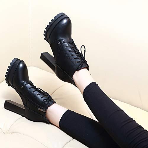 LBTSQ-Extra-High-Heels Dick Und Kurze Stiefel Die Krawatten 11Cm 11Cm 11Cm Retro Frauen-Stiefel Damenschuhe Ma Dingxue  aa9696