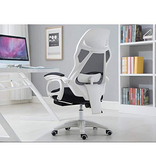Kontorsstol svängbar hög rygg midjekudde, nät andningsbar fåtölj fotpall glidande fåtölj hem fritid avslappnande student skriva lyft stol, vit, bågformade fötter