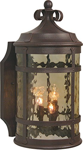 Craftmade Z5014-91 Wall Lantern with Hammered Clear Glass Shades, Rustic Iron Finish