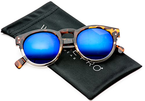 Vintage Inspired Mirror Lens Round Horned Rim Frame Retro Sunglasses (Plastic Sunglasses Vintage)