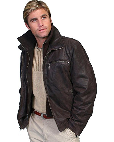 Lambskin Zip Front Jacket (Scully Men's Zip-Out Front And Collar Lambskin Jacket Brown Small)