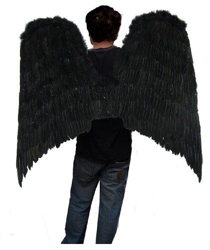 [SACAS Super Large Beautiful Black Feather Angel Wings] (Black Swan Costume Wings)