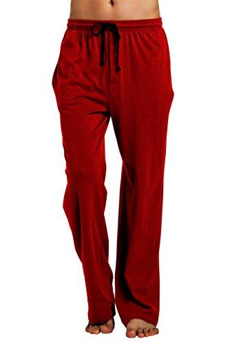 CYZ Men's 100% Cotton Jersey Knit Pajama Pants/Lounge Pants-Burgundy-M