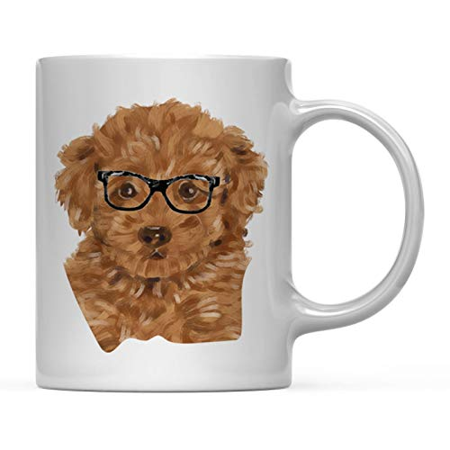 - Andaz Press Funny Preppy Dog Art 11oz. Coffee Mug Gift, Poodle in Black Glasses, 1-Pack, Christmas Birthday Present Ideas for Him Her Dog Lover