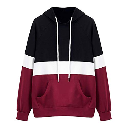 Big Promotion! Sweatshirt,Toimoth Women's Long Sleeve Hoodie Pullover Striped Crop Top Sweatshirt (Red,M) -