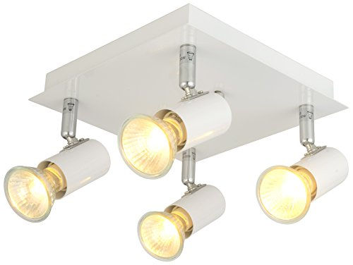- Modern Rectangular/Square 6/4 Way Adjustable GU10 Ceiling Spotlight Track Lighting kit (White, 4 Ways)