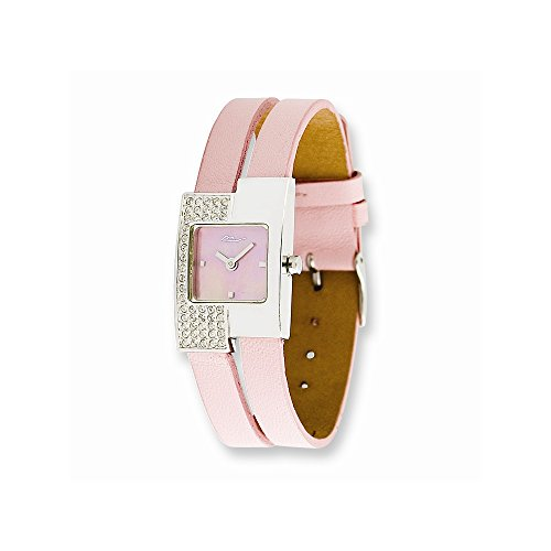 Moog Fashionista Offset Swarovski Case/Pink Leather Strap Watch (Quartz Set Wrist Watch)