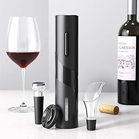 Juego de abridores de vino: abrebotellas inalámbrico sacacorchos eléctrico, abridor incluye abridor de vino automático, tapones de vacío, cortador de papel de aluminio, aireador de vino para fiestas