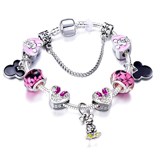 Fashion Animal Mickey Charm Bracelets Bangles Women Jewelry Minnie Pink Bow-Knot Pendant BrBracelet DIY Hmade for Girl Gift