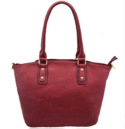 LeahWard® Damen Mode Essener Qualität Kunstleder Schultertaschen Modisch Tote Kreuzkörper Handtasche CWRF140161 CWRL150512 Wine tPI74