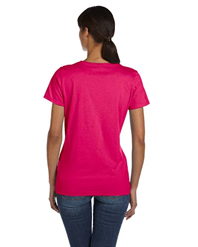 Fruit of the Loom sudadera con capucha para mujer HDTM T-camiseta de manga corta para algodón resistente Cyber Pink