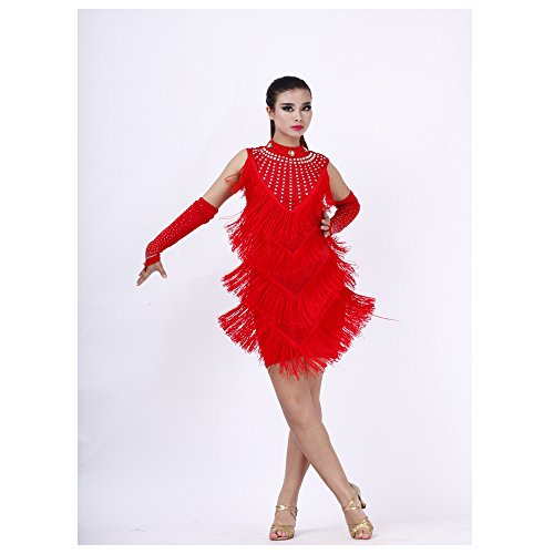 Ballroom Dress Diamond V-Tassels Latin Dance Skirt Competition Prom Wear -red (Competition Dance Costume For Sale)