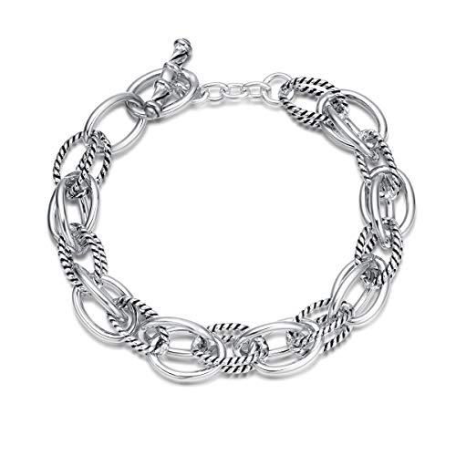 Small Double Link - UNY Bracelet Designer Brand Inspired Antique Women Jewelry Double Cable Link Wire Vintage Valentine (Silver)