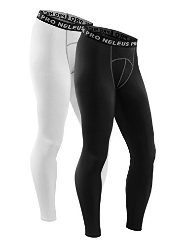 Neleus Men's Compression Running Leggings Tights,6026,White,Black,M,EUR L