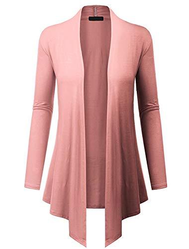 (lymanchi Women's Basic Draped Long Sleeve Open Front Soft Lightweight Cardigan 94 Pink)