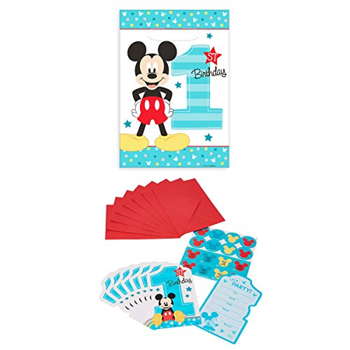 - Disney Mickey Mouse Baby's 1st Birthday Party Invitation Loot Bag 16 Count Set